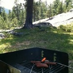 Eating hot dogs in the black hills.
